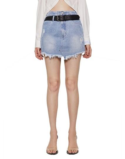 Half Belt Denim Skirt
