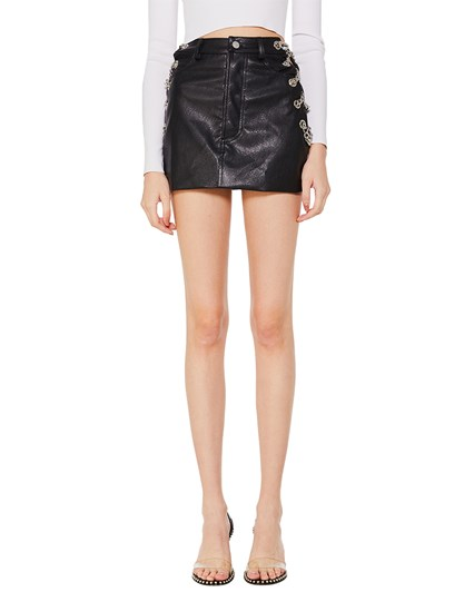 Turn Up Leather Skirt